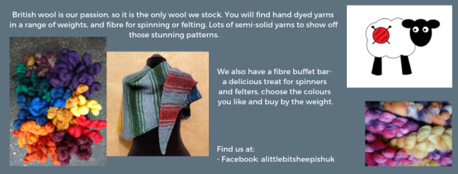 Exhibitor intro for A Little Bit Sheepish, including yarn some fibre for spinning, a knitted shawl and a facebook link.