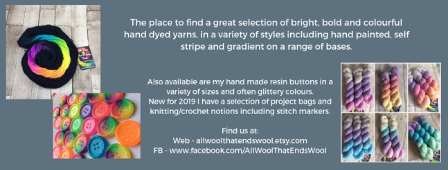 Exhibitor intro for All Wool That Ends Wool, including yarn images, sparkly buttons and social media links.