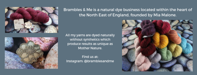 Exhibitor intro for Brambles & Me, including yarn images and a pin badge