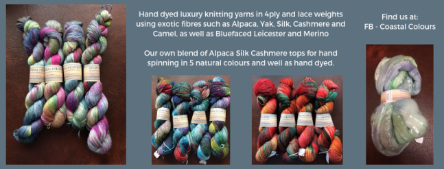 Exhibitor intro for Coastal Colours, including yarn images and some fibre for spinning