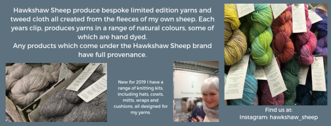 Exhibitor intro for Hawkshaw Sheep yarn, including yarn, Sue from Hawkshaw Sheep and a link to Instagram