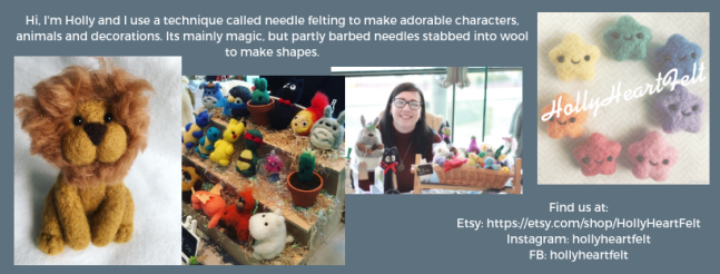 Exhibitor intro for HollyHeartFelt, including logo, a picture of Holly and some felted animals.