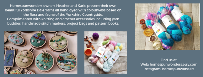 Exhibitor intro for Homespun Wonders, including yarn, felted pictures and instagram link.