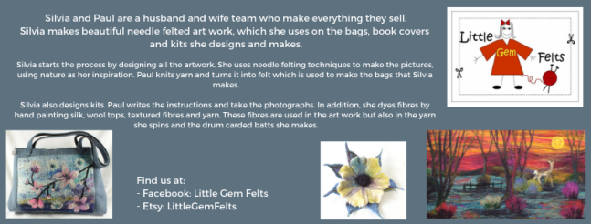 Exhibitor intro for Little Gem Felts, including felted pictures, bag and flower and Facebook link.