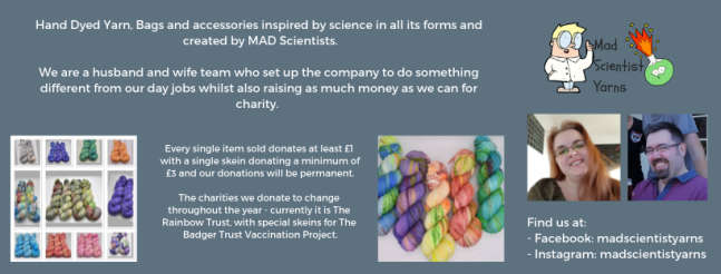 Exhibitor intro for Mad Scientist Yarns, including pictures of the team and their yarns.