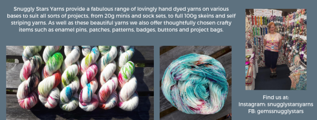 Exhibitor intro for Snuggly Stars Yarn, including yarn and a picture of Gem at a show.
