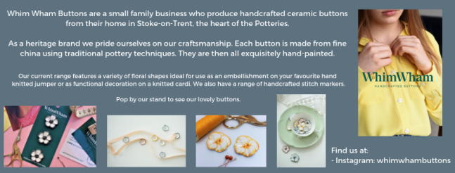 Exhibitor intro for Whim Wham Buttons, including the logo and a few examples of their floral button range.