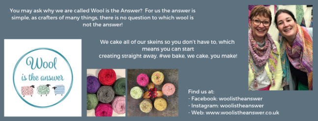 Exhibitor intro for Wool is the Answer, including yarn images, logo and a picture of the team.