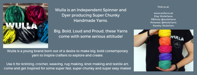 Exhibitor intro for Wulla, including yarn, logo and web links.