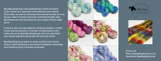 Exhibitor intro for Baa Baa Brighouse, including yarn images, logo and social media links.
