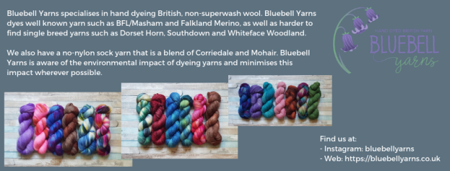 Exhibitor intro for Bluebell Yarns, including yarn images and social media links.