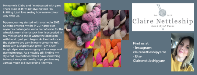 Exhibitor intro for Claire Nettleship Yarns, including yarn images and a picture of Claire.