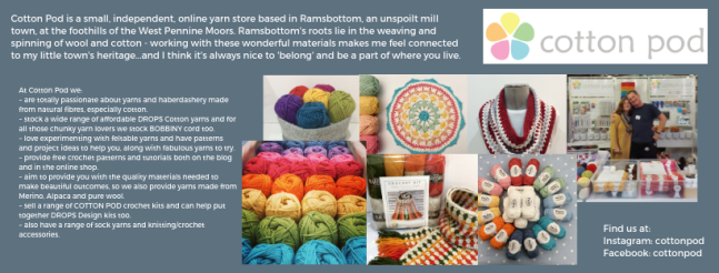 Exhibitor intro for Cottonpod, including yarn images and a picture of Sharon and Geoff.