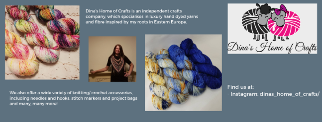 Exhibitor intro for Dina's Home of Crafts, including yarn images and a profile picture of Dina.