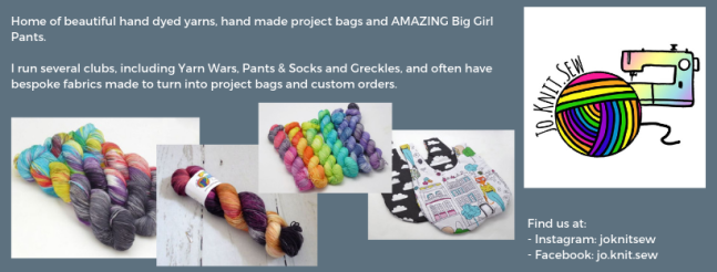Exhibitor intro for Jo.Knit.Sew, including yarn, project bags, logo and social media links