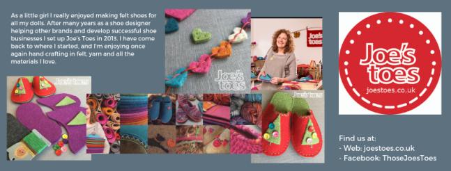 Exhibitor intro for Joe's Toes, including slipper kits, felt shapes, logo and social media links