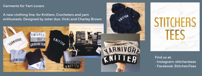 Exhibitor intro for Stitchers Tees, including sweaters, tees, bags and logo