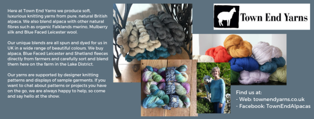 Exhibitor intro for Town End Yarns, including several pictures of hand dyed yarn and the logo