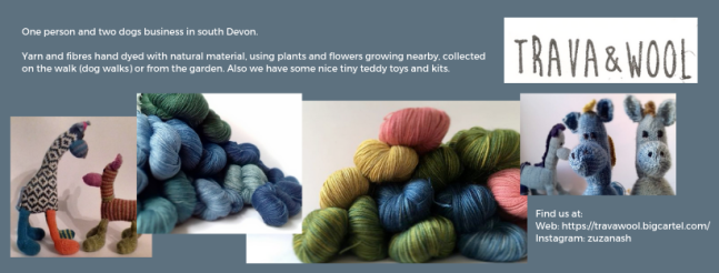 Exhibitor intro for Trava & Wool, including several pictures of hand dyed yarn, knitted animals and the logo