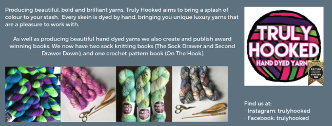 Exhibitor intro for Truly Hooked, including several pictures of hand dyed yarn and the Truly Hooked logo